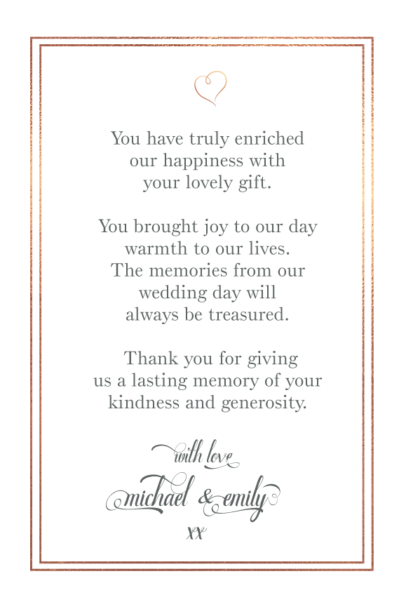 wedding rose gold thank you photo card with message,