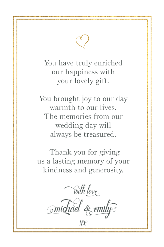 Wedding Thank You Cards - Love And Thanks - Gold