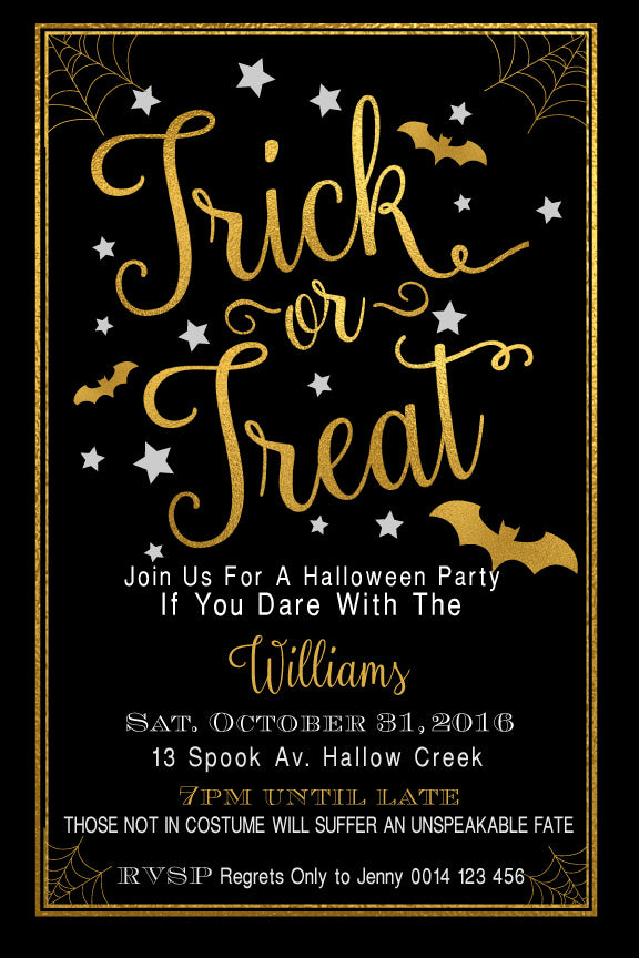 Halloween birthday invitations, Halloween gold and black party invitations,