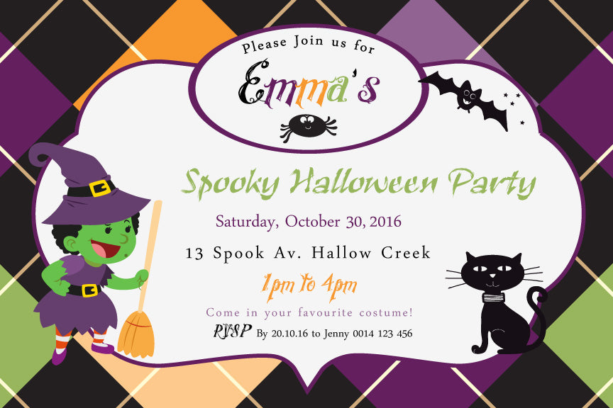 witch and cat Kids cute Halloween Party Invitation
