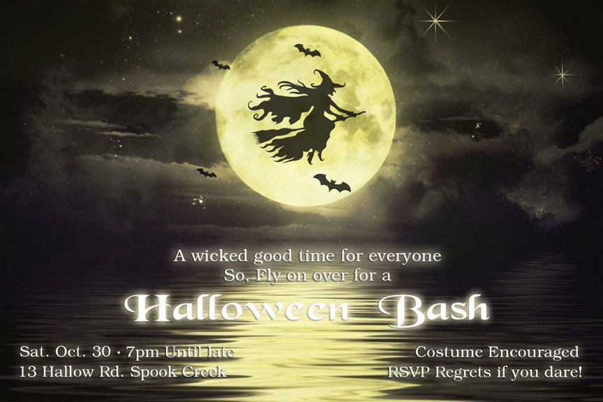 Full moon and witch Halloween party invitation