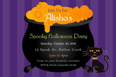 Halloween birthday invitations, Halloween cauldron party invitations,