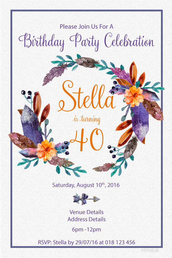Floral boho wreath birthday invitations, purple and orange boho wreath invitations,