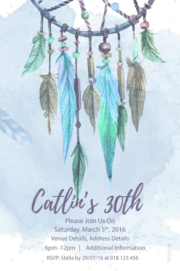 Blue and green Dream catcher birthday invitations,