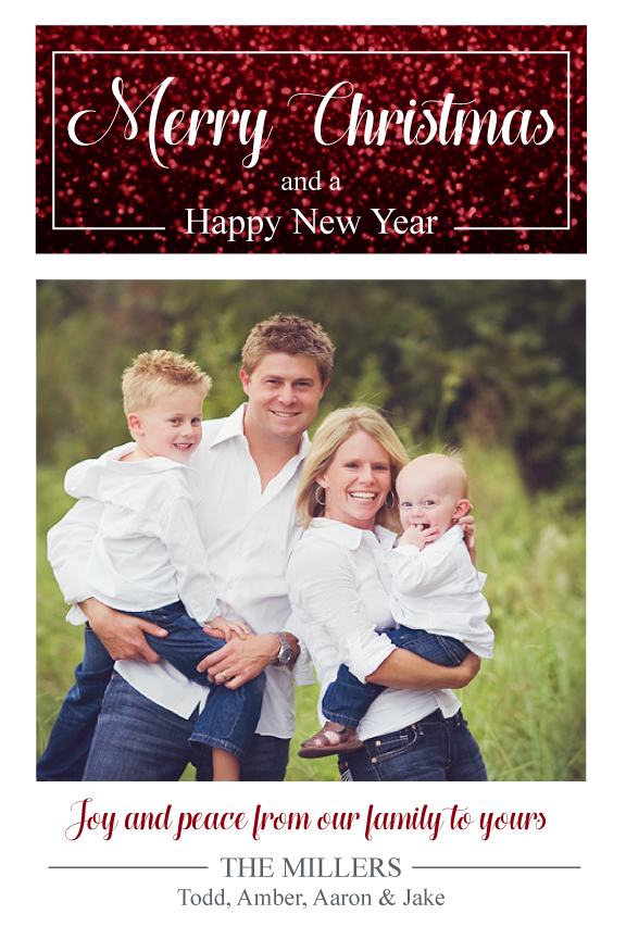 Christmas photo card,  holiday greeting cards photo, red glitter with photo holiday Christmas greeting card,