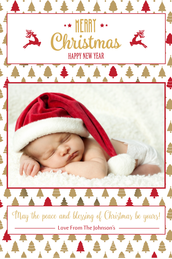 Christmas photo card,  holiday greeting cards photo,  gold and red with photo holiday Christmas greeting card,