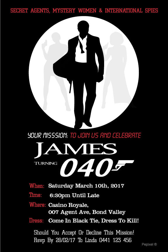 James Bond birthday invitations, 007 casino birthday invitations,