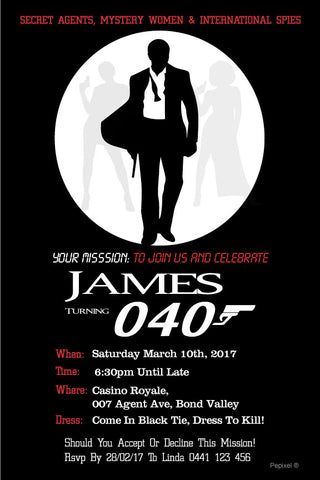 Free james bond party invitation templates perfect letter 40th birthday invitation 007 agent james bond credit to httpspepixelproducts40th birthday invitation 007 agent james bond stopboris Choice Image