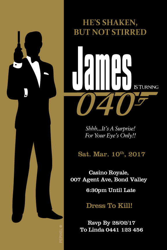 James Bond birthday invitations, Gold and black James Bond birthday invitations, 007 casino birthday invitations,