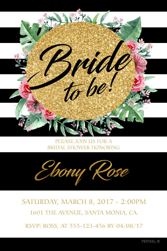 black and white bridal shower invitation, gold and floral bridal shower invitation