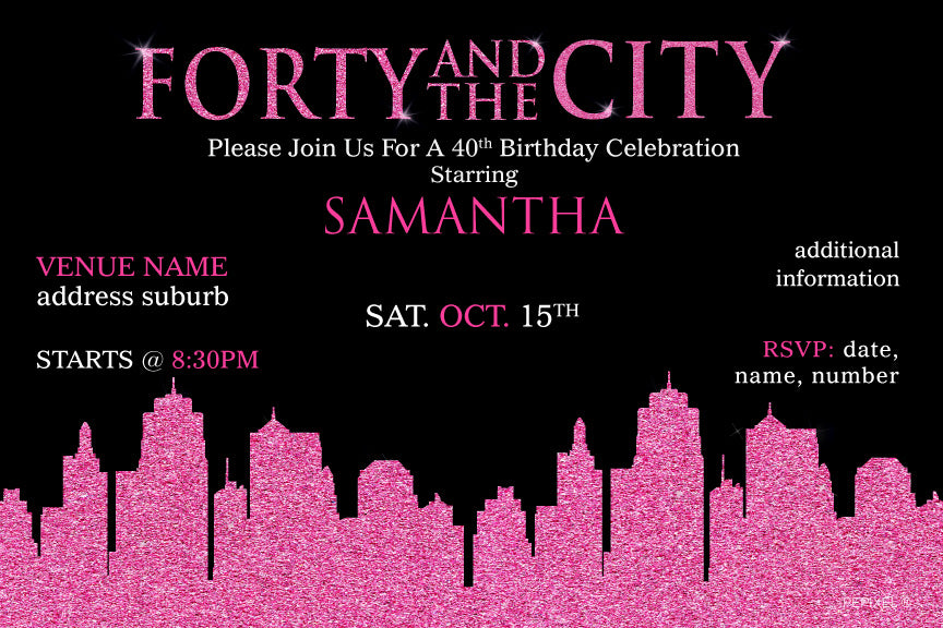 Sex in the city birthday invitations, sex and the city birthday invitations, sex and the city invitations with pink glitter skyline,