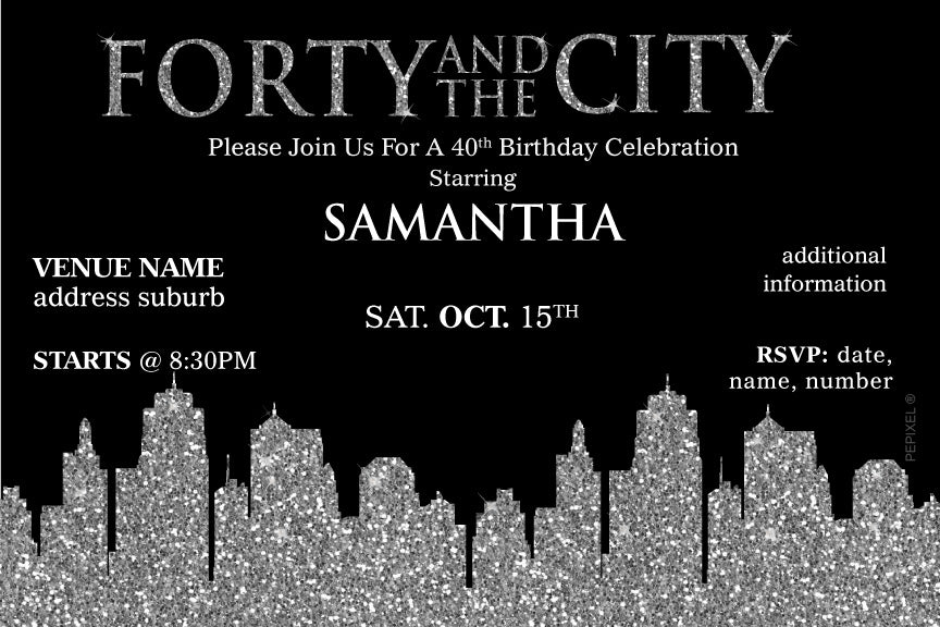 Sex in the city birthday invitations, sex and the city birthday invitations, sex and the city invitations with silver glitter skyline,
