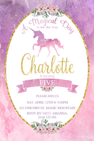 girls unicorn party invitations, watercolour Unicorn birthday invitation