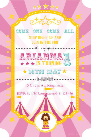 circus birthday invitation, pink circus birthday party invitation,