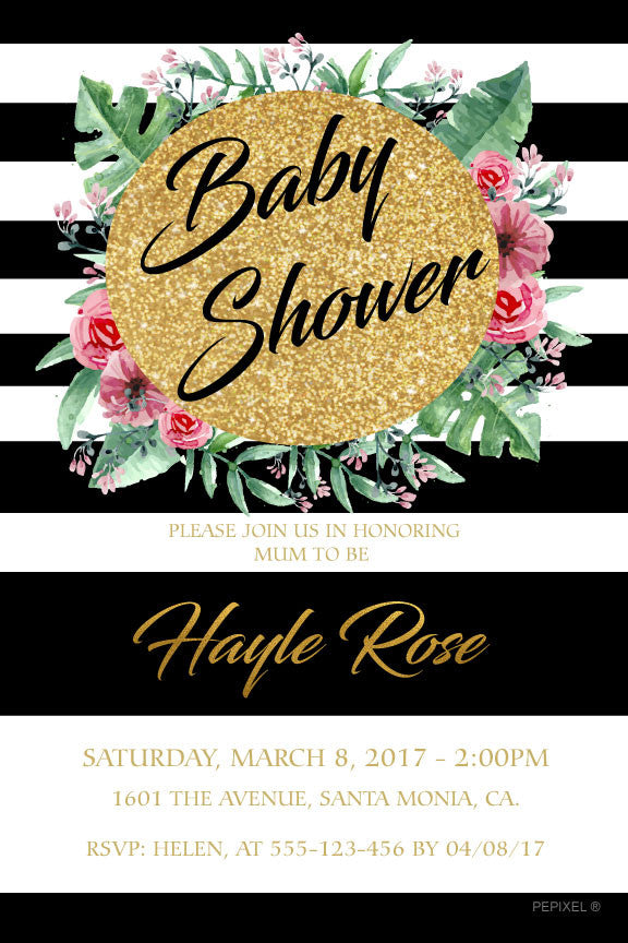 Black and white striped baby shower invitation, floral and gold baby shower invitation,