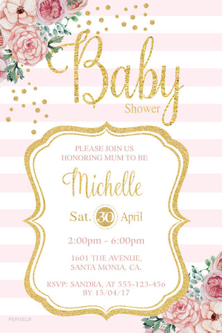 Floral and striped baby girl shower invitation, gold and pink striped baby shower invitation,