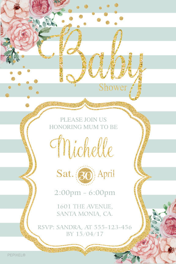 Floral and striped baby girl shower invitation, gold and mint baby shower invitation,