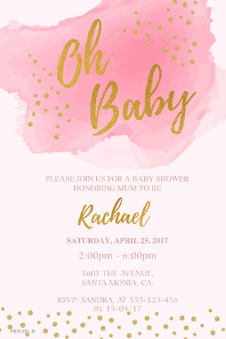 pink and gold baby shower invitation,