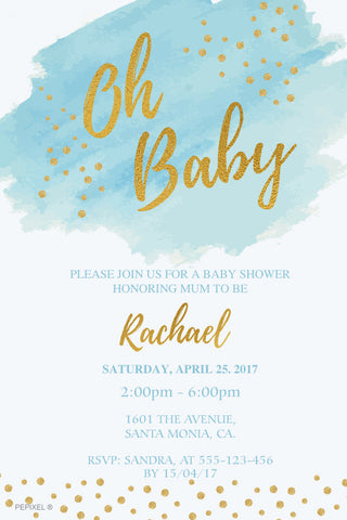 blue and gold baby shower invitation,