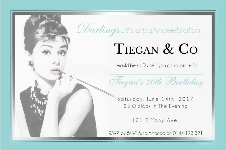 Tiffany and Co. birthday party invitations, Audrey Hepburn invitations