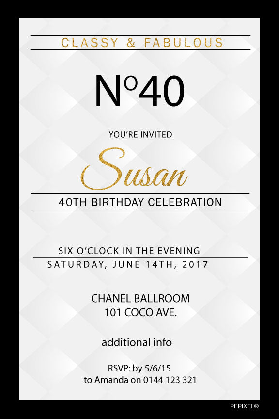 Coco Chanel birthday invitation, Chanel birthday invitation, white and gold birthday invitation,