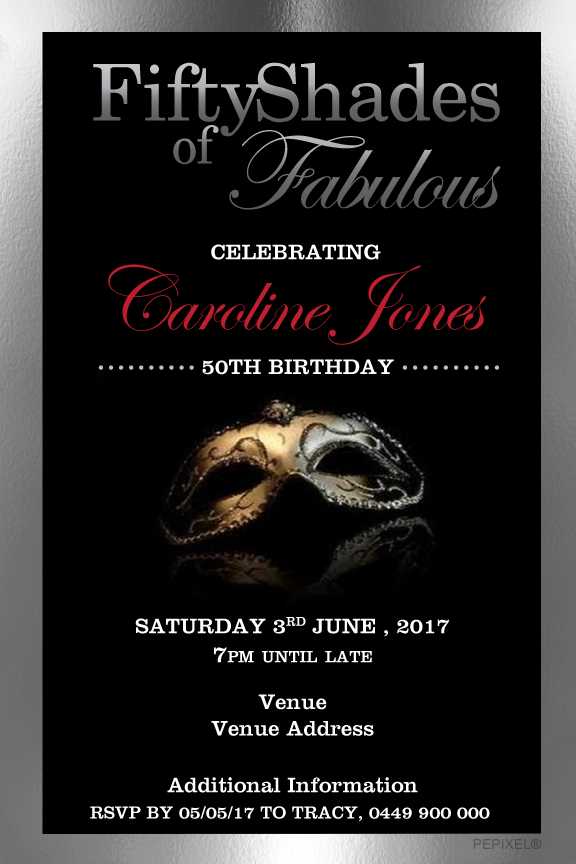 Fifty shades of grey birthday invitation, Fifty shades of grey party invitation,