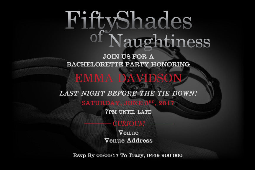 fifty shades of grey bachelorette invitations,