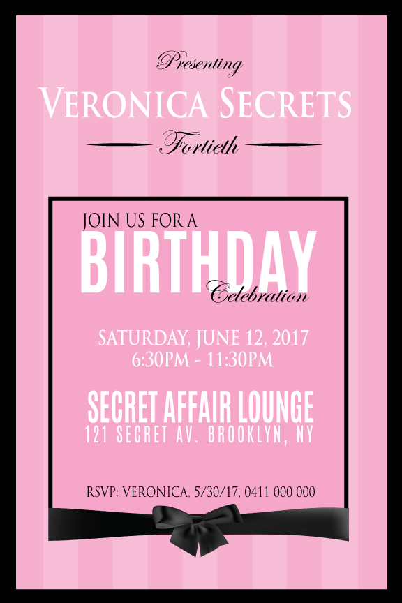 Victoria's secret birthday invitations, pink striped birthday invitations,