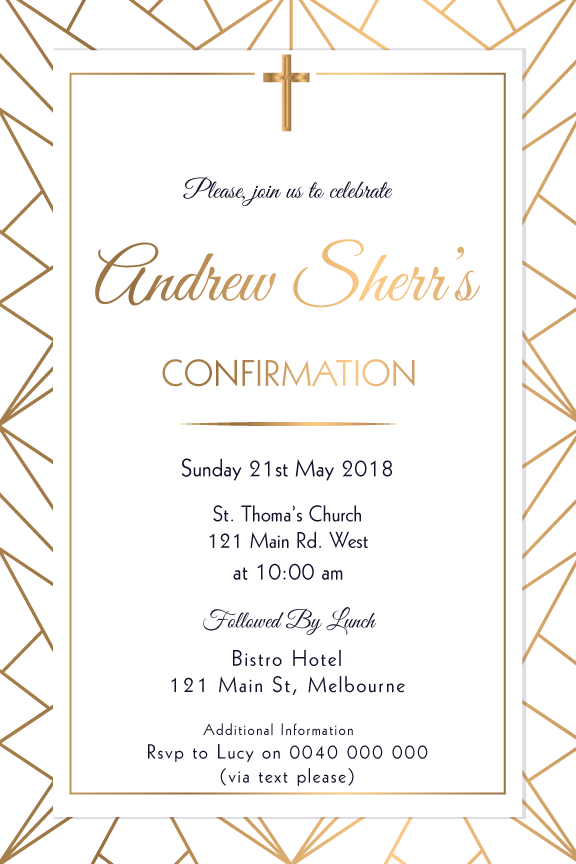 Gold Geo shaped communion invitation, Gold Geo shaped confirmation invitation