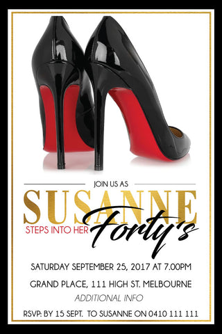 40th and 50th birthday invitations, adult birthday invitations, black high heels birthday invitation,