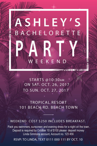 Bachelorette party invitation,  tropical bachelorette party invitation,