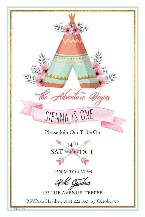 boho teepee birthday party invitation, girl boho design