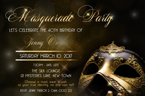 30th and 40th birthday invitation, adult birthday invitations, gold masquerade party invitation, quinceanera invitations,