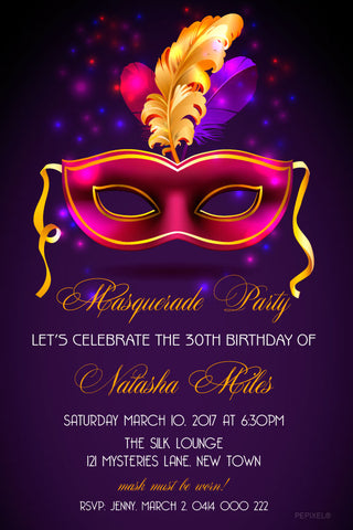 30th and 40th birthday invitation, adult birthday invitations, masquerade party invitation, quinceanera invitations,