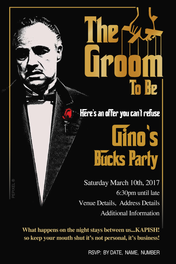 Godfather bachelor party invitations, casino bachelor party invitations,