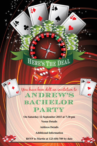 bachelor party casino invitation,