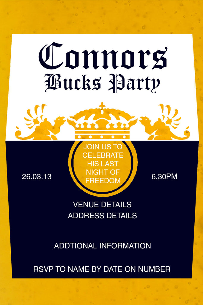 Corona bachelor invitation, beer label bachelor party invitation