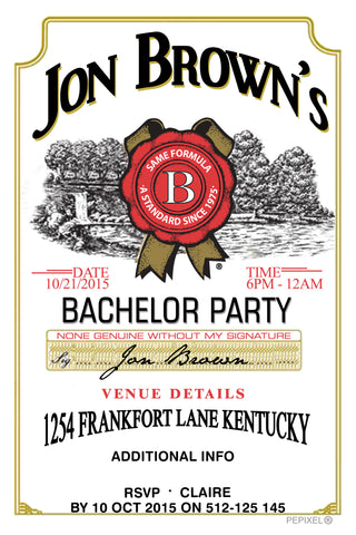 Jim Beam label bachelor party invitation,