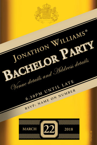 Johnny walker bachelor party invitation black label,