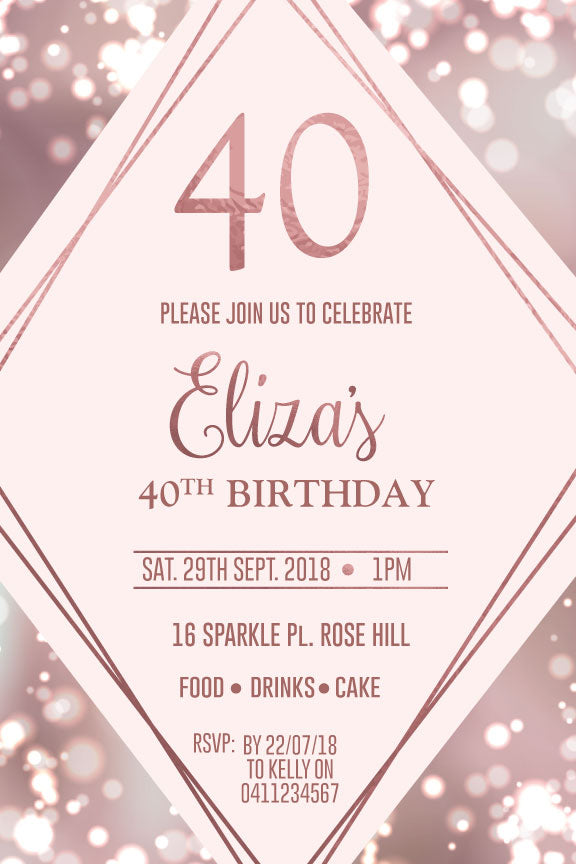 40th 50th 60th Birthday Party Invitations Templates Australia