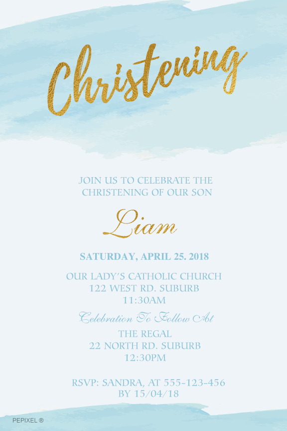 blue and gold watercolor baptism invitation, christening invitation for a boy