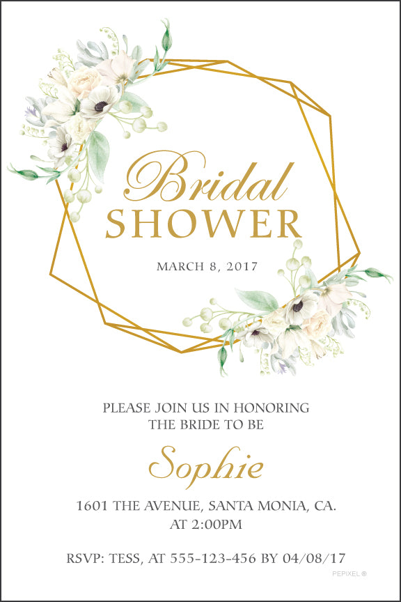 Soft floral arranged around gold Geo shape on white background bridal shower invitation