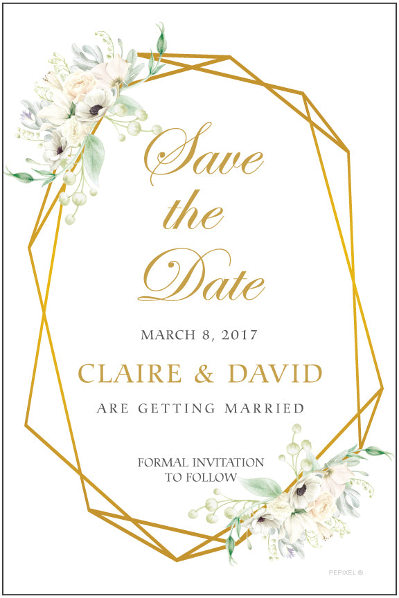 Floral and gold save the date card on white background