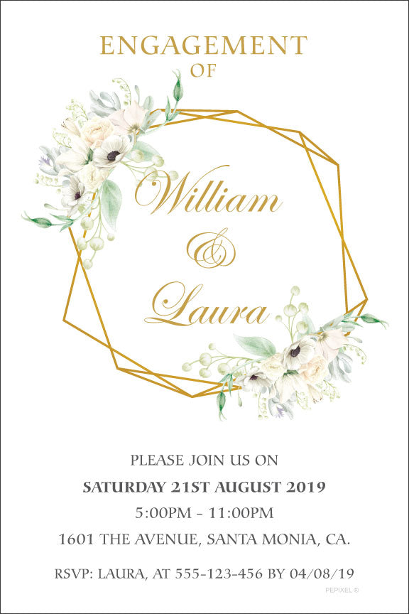 Floral and gold engagement invitation,