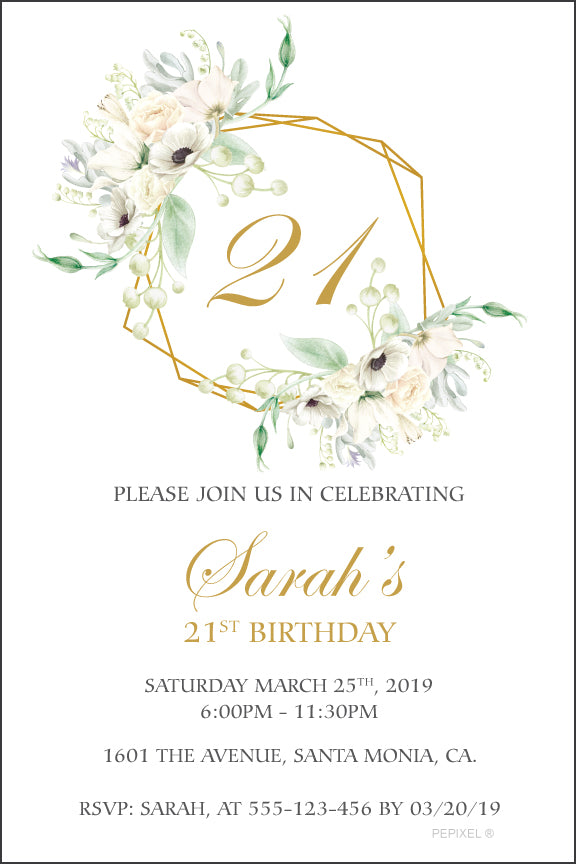 Soft floral birthday invitation with a gold geo