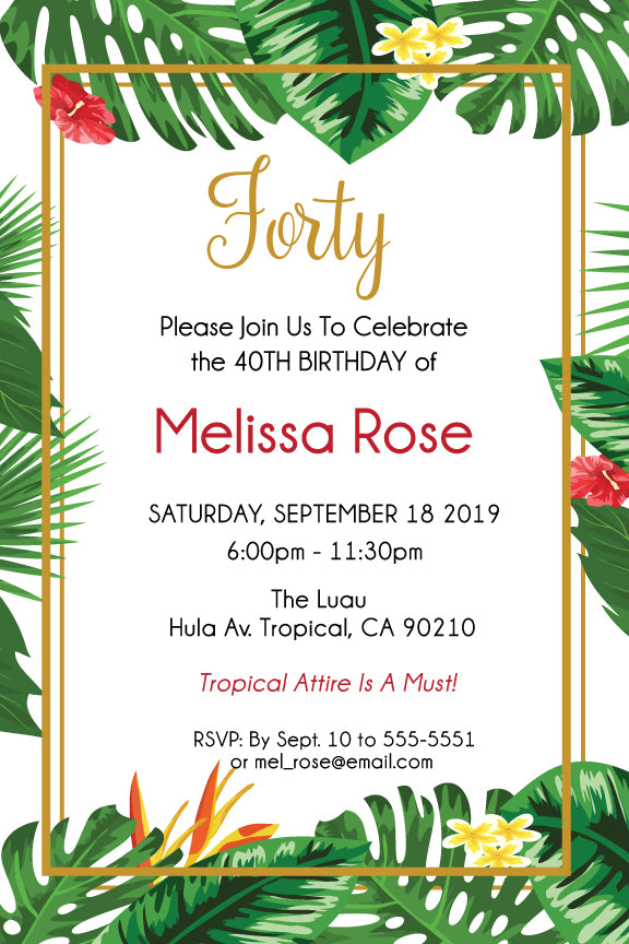 Tropical Floral birthday invitations, Tropical birthday party invitation