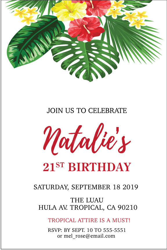 Tropical Floral Birthday Invitations