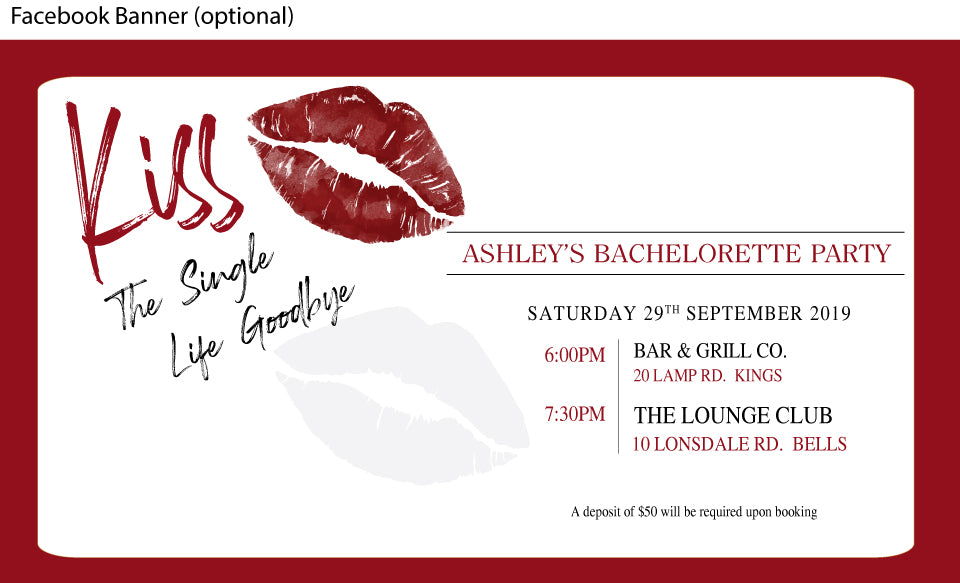 bachelorette party facebook event banner with lips kiss print