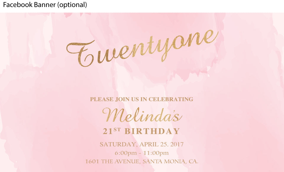 Pink watercolor with gold birthday facebook event page
