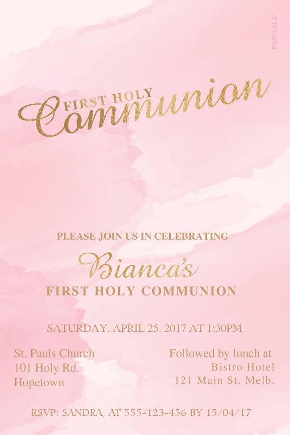 pink watercolor with gold communion invitation, pink watercolor with gold confirmation invitation
